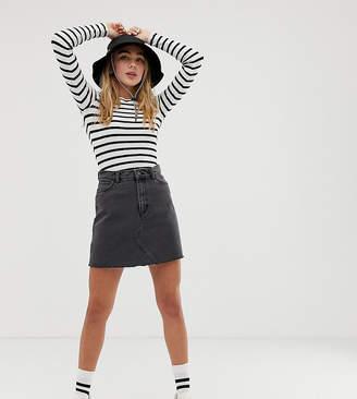 Monki denim mini skirt with organic cotton in wash black