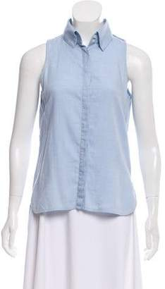 Intermix Sleeveless Button-Up Top