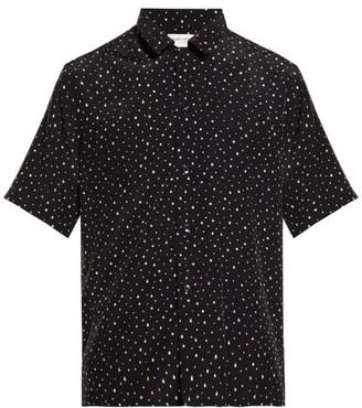 Saint Laurent Polka Dot Print Crepe Shirt - Mens - Black White