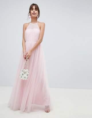 Asos DESIGN Premium Halter Tulle Maxi Dress