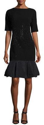 Rickie Freeman for Teri Jon Embellished Crepe & Taffeta Cocktail Dress, Black $600 thestylecure.com