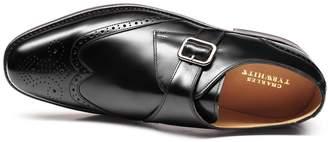Charles Tyrwhitt Black Goodyear Welted Brogue Monk Shoe Size 7.5