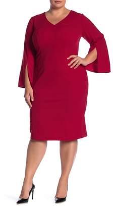 London Times Split Sleeves Sheath Dress (Plus Size)