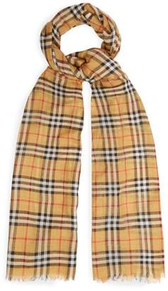 Burberry - Vintage Check Wool And Silk Scarf - Mens - Yellow