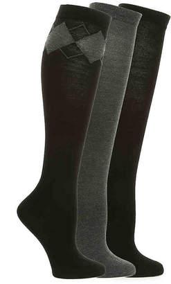 Nine West Argyle Knee Socks - 3 Pack - Women's