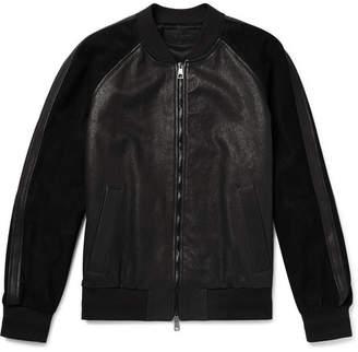 Neil Barrett Appliquéd Leather And Suede Bomber Jacket