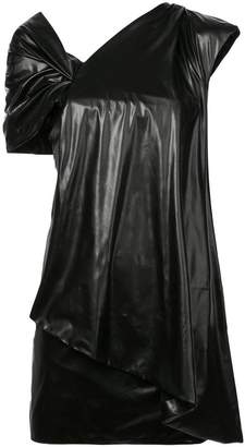 Vionnet draped detail one shoulder dress