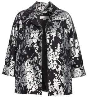 Caroline Rose Women's A-Line Floral Jacket - Silver Black - Size 2X (18-20)