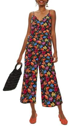 Topshop Sleeveless Floral Print Jumpsuit