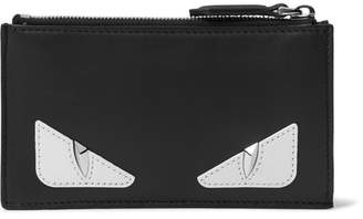 Fendi Bag Bugs Appliqued Leather Cardholder - Men - Black