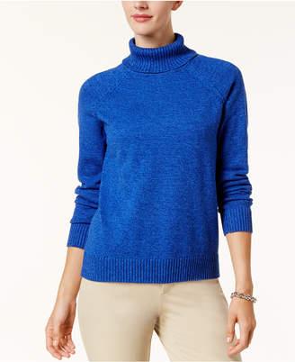 Karen Scott Cotton Marled Turtleneck Sweater, Created for Macy's