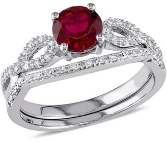 Tangelo 1 Carat T.G.W. Created Ruby with 1/6 Carat T.W. Diamond 10kt White Gold Infinity Design Bridal Set