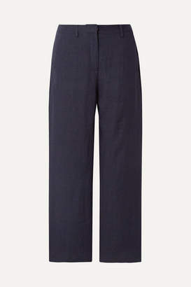Mansur Gavriel Cropped Linen Straight-leg Pants - Midnight blue