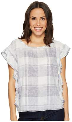 Vince Camuto Extend Shoulder Ruffled Sleeve Quaint Plaid Blouse Women's Clothing