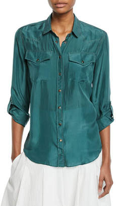 Brunello Cucinelli Silk Button-Down Western Blouse