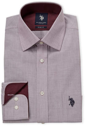 U.S. Polo Assn. Burgundy Solid Slim Fit Dress Shirt