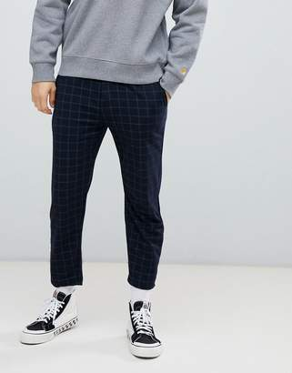 Bershka check pants in navy with elastic waist