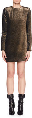 Saint Laurent Jewel-Neck Long-Sleeve Metallic-Velvet Mini Dress
