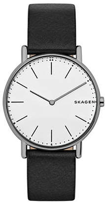 Skagen Signatur Analog Titanium and Leather Strap Watch