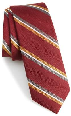 The Tie Bar Short Cut Stripe Silk & Wool Skinny Tie