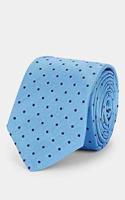 Barneys New York Men's Dot-Print Silk-Jacquard Necktie - Lt. Blue