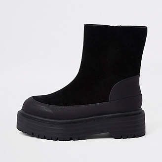 River Island Black suede fabric chunky sole boots