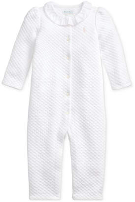 Polo Ralph Lauren Baby Girls Jacquard Ruffle One Piece Coverall