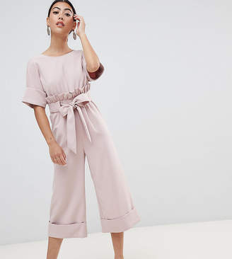 Lost Ink Petite Wide Leg Jumpsuit With Tie Waist And Frill Detail