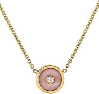 Retrouvaí Mini Pink Opal and Diamond Compass Necklace - Yellow Gold