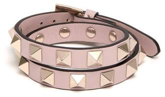 Valentino Rockstud Embellished Leather Bracelet - Womens - Pink