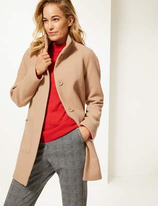 Marks and Spencer Wool Rich Funnel Neck Coat