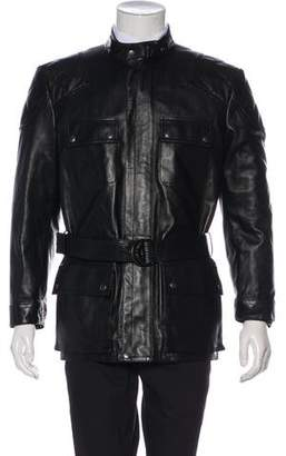 Gucci Leather Belt-Accented Down-Lined Coat