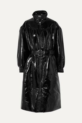 Miu Miu Belted Vinyl Coat - Black