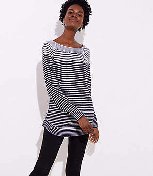LOFT Mixed Stripe Tunic Sweater