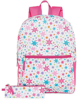 Confetti White Rainbow Star Backpack with Pencil Case