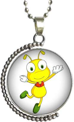 GiftJewelryShop Happy Lovely Ant Glass Cabochon Rotatable Lucky Pendant Necklace