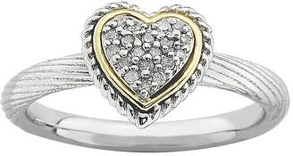 JCPenney FINE JEWELRY Personally Stackable Diamond-Accent Two-Tone Heart Ring