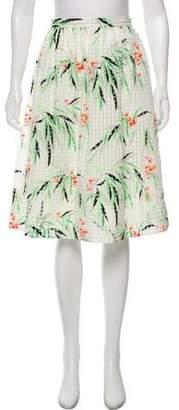 Elizabeth and James Floral Gingham Knee-Length Skirt