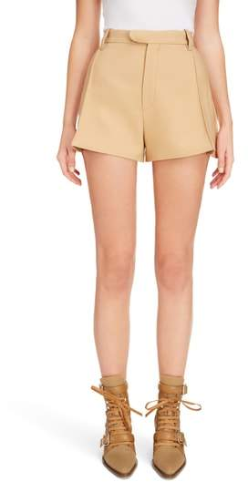 Side Pleat Wool & Silk Blend Shorts