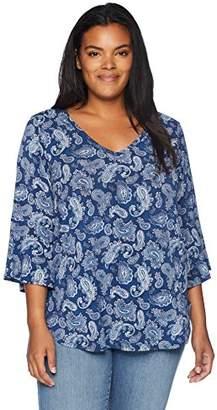 Karen Kane Women's Plus Size Bell Sleeve TOP