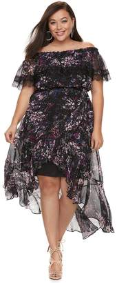 JLO by Jennifer Lopez Plus Size Floral Off-the-Shoulder Maxi Dress