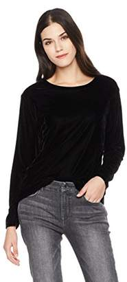 NECK & NECK Signature Society Women's Velvet Round Neck Long Sleeve Blouse
