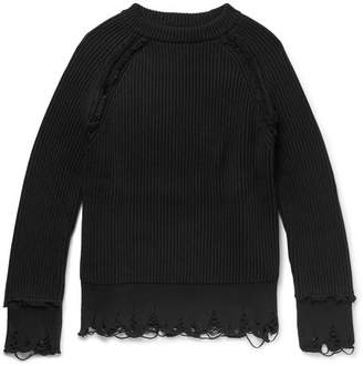 Haider Ackermann Distressed Cotton And Cashmere-Blend Sweater