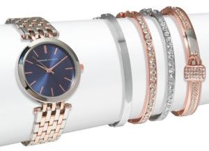 Two-Tone Watch & Crystal Bracelet- Set of 5 $125 thestylecure.com
