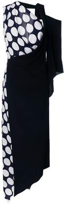 Awake asymmetric polka dot dress