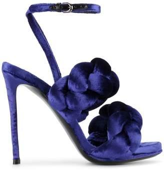 Marco De Vincenzo Blue Velvet braided strap 120 sandals