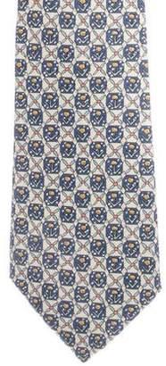 Hermes Tulips Print Silk Tie