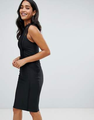 Lipsy bandadge bodycon dress with lace insert in black