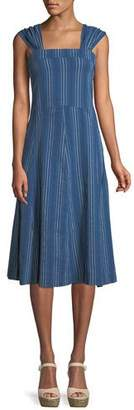 The Great Sundown Sleeveless Textured-Stripe Yea-Length Denim Dress
