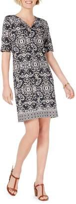 Karen Scott Printed Elbow-Sleeve Shift Dress